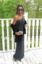 Designer Lillie Rubin Heavily beaded Silver black ball dress gown S-2/4