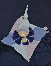DOUDOU ET COMPAGNIE Ours Plat Fleur Pétales Bleu Mauve Carré  TTBE