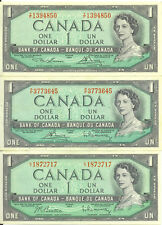 Bank of Canada 1954 $1 One Dollar Lot of 3 Notes Different Signature VF/EF