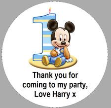 24 x 40 mm Round personalizzata Mickey Mouse 1st Compleanno ETICHETTE ADESIVI PARTY