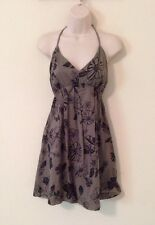 Woman's Halter Dress Size Large Lg By Lucky Brand Black Gray Flowers