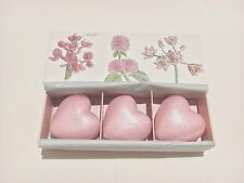 "NEW CRABTREE & EVELYN "" ROSEWATER "" 3 PCS TRIPLE MILLED HEART SHAPED SOAP SET"