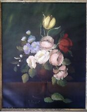 Vintage Vito Ruggeri original oil painting Bouquet of flowers circa 1960's