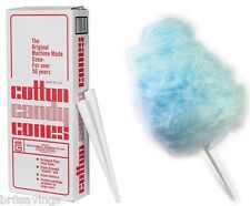 "1000 pk Cotton Candy Cones Floss Triple Wrapped Heavy Duty Kraft White 12"" Long"
