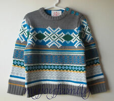 HANNA ANDERSSON Cozy Up Nordic Sweater Stormy Grey Multi Blue 120 6-7 NWT