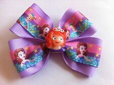 "Girls Hair Bow 4"" Wide Sofia the First Oona Light Purple Ribbon French Barrette"