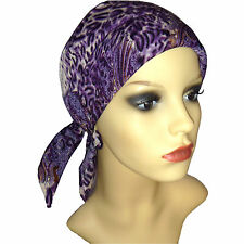 Padded Head Scarf with Purple Paisley design. Headwear for Chemo Hair loss