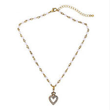 NEW * Stylish Anthropologie Crown Heart Rhinestone Faux Pearl Gold Necklace