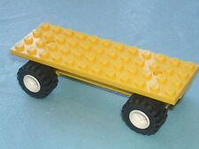 Lego 12 x 4 Vehicle Car / Truck Long Base Flatbed YELLOW Chassis White Wheels