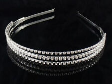 Silver Plated Crystal Wedding Bridal Headband Tiara Hair Band Diamante TQ-139