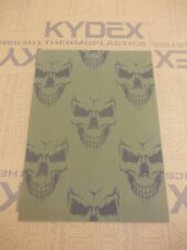 KYDEX T SHEET 297 X 210 X 2MM A4 SIZE  OLIVE DRAB SKULL INFUSED PANEL