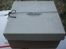 Vintage ?? Abrahams Davenpot Iowa Brown and Mixed Hat Box Empty good for decor