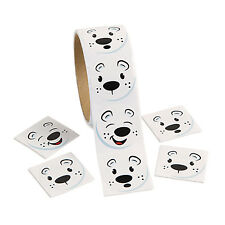 300 Winter POLAR BEAR Happy Face Stickers Use 4 Christmas Card Seals Gift Bags