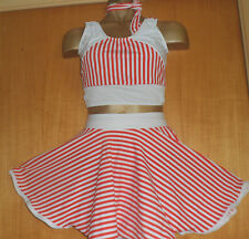 RED/WHITE/STRIPE LYCRA ROCK AND ROLL 11/12 YEAR OLD COSTUME