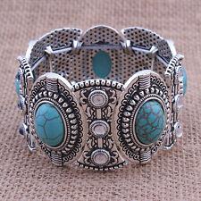 Damen Vintage Retro Natural Türkis Armband Tibet Silber breit Armreif Schmuck