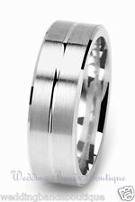 18K White Gold Men's Wedding Band Mans Satin Finish Mens Flat Carved Ring 7mm