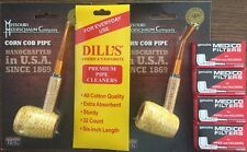 BENT STRAIGHT Missouri Meerschaum Corn Cob Pipe & Dills Cleaners & Medico Filter