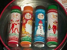 Elf on Shelf Set 4 Lip Balm Candy Cane Sugar Cookies Mint Hot Cocoa Red Tin