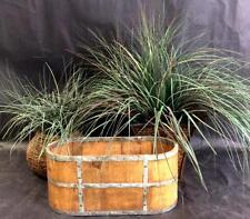 2 Faux House Plants & Wood/metal Planter Lot 3526