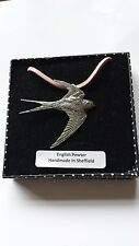 B25 Swallow Motif Pewter  PENDENT ON A PINK CORD Necklace Handmade