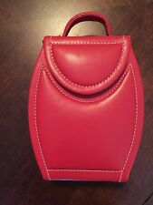 NEW travel jewelry box portable red vinyl purse shaped with handle personal size
