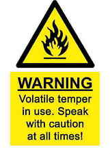 A5 Funny Workplace Temper Sticker - Spillage Bio Hazard Chemical Health & Safety