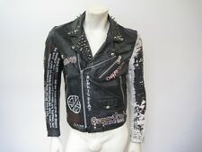 Vintage Studded Painted Patched Punk Black Leather Motorcycle Jacket Size SM/MED