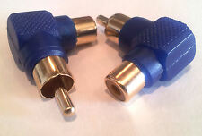 Qty 2 - Right Angled GOLD PHONO Plug Connectors RCA Audio Video LCD Adaptor -A27