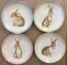 222 Fifth Bunny Land Appetizer Dessert Plates Set Of 4 Spring Floral Easter
