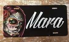 Personalized Female Sugar Skull  License Plate Car Tag Initials Custom