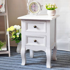 Shabby Chic Small White Bedside Table Unit Cabinet Nightstand 2 Drawer Storage