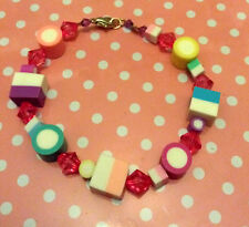 Dolly Mixtures Sweetie Pink Bead Charm Bracelet Quirky Kitsch Cute