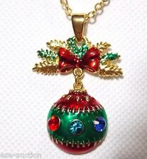 Multi Crystal Christmas Ornament Gold Necklaces -Comes In Gift Box