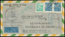 2132 BRAZIL TO CHILE REGISTERED DIPLOMATIC COVER 1948 EMBASSY FRANQUICIA PANAM.