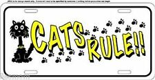 Cat's Rule Paw Print Metal Novelty License Plate Tag Sign