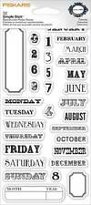 FISKARS Simple Stick CALENDAR Rubber Cling Stamps JOURNAL MONTHS DAYS DATES