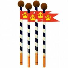 6X Mike The Knight Pencils with Erasers Medieval Party Favours Gifts Loot Flag