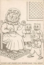 Louis Wain Cats. Pussy-Cat, Pussy-Cat, Where Have You Been? Unsigned.