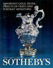 Sotheby's London Gold, Silver, Vertu, Portrait Miniatures June 1, 2000
