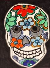 ACEO Day of the Dead flower glittered decorated skull miniature Aceo art  print