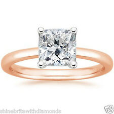 1 Ct Princess Solitaire Engagement Wedding Promise Ring Solid 14K Rose Pink Gold