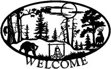 Welcome Sign Sticker Camping Landscape Wall lettering Vinyl Decal Mural 12x20