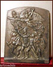 """Art nouveau bronze Lg plaque """" La marseillaise """" Nude Males by Mattei Rooster"""