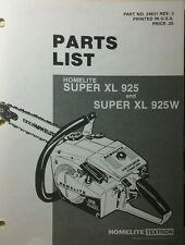 Homelite Super XL 925 Chain Saw Parts Manual 8pg Chainsaw Pro Saws Arborist