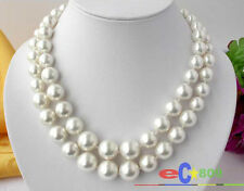 p1329 2ROW 16MM WHITE SOUTH SEA SHELL PEARL TOWER NECKLACE