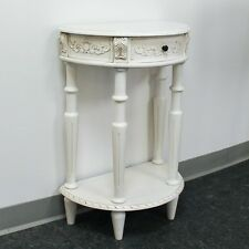 International Caravan Carved Small 1/2 Moon 2-Tier Wall Table, White