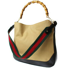GUCCI Bamboo Shoulder Hand Bag Beige Canvas Black Leather Vintage Auth #8838 M