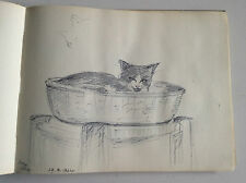 Album c1964-70  de 39 originales dessins - acquarelles    de chats et chiens
