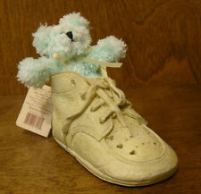 """Baby Boyds LISSY...BABY STEPS resin shoe with turquoise bear #641008 2.5"""" x 4.5"""""""