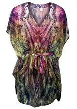 Size 12 New Womens ladies multi colour design batwing summer kaftan dress